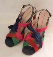 MARC JACOBS ~ Green Pink Blue Leather High Heel Slingback Peep Toe Sandals 38 7