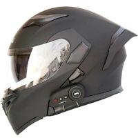 New DOT Motorcycle Headset Bluetooth Helmet Modular Dual Visor Flip Up Full Face