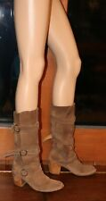 Fiorentini Baker Tan Suede Billie 3 Buckle Boots 39/8.5 Made in Italy