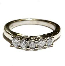 14k white gold .55ct round diamond 5 stone wedding anniversary band ring 4.7g