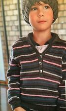 Boys Polo Style Sweater age 6 - 12 years Knitting Pattern