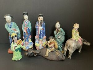 Lot of 7 Oriental Porcelain/Ceramic Pottery Figurines Made in China/Japan