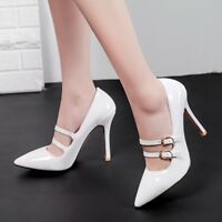 Womens Ankle Strap Pointed Toe High Heels Pumps Buckle Stiletto Prom Shoes Party