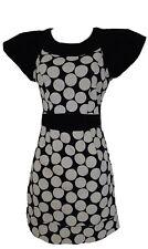 UK 10 Black White Polka Dot Spotted Dress Cut Out Back Bow Detail Tsega Occasion
