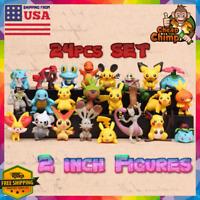 24 Different Figures Figurines Pokemon Collection - Mini Medium Size LOT 2 Inch