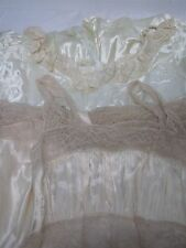 2 VINTAGE LADIES SATINY NIGHTGOWNS with PRETTY LACE ~ BUST 30 & 32