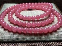 Natural Rose Ice Rhodochrosite Gemstone Clear 108 Prayer Beads Bracelet 6mm AAAA