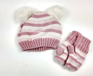 Gap Baby Toddler Girl Knit Crazy Stripe Pom Pom Hat and Mittens set Pink Sz XS/S