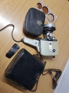 Vintage AGFA Movex Reflex 8mm Cine Movie Camera +Handle Case Filters Lens Cover