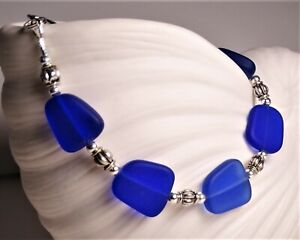 """COBALT BLUE Sea glass jewelry hand wired 7-3/4"""" bracelet lobster claw closure"""