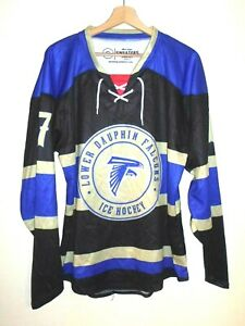 MATCH WORN #17 Lower Dauphin Falcons ICE HOCKEY Jersey Shirt size S Sweater