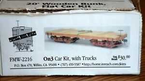 20' Wooden Bunk Flat Car Kit Foothill Model Works with Trucks On3