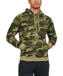 Under Armour Men's Rival Fleece Camo Crossover Hoodie, Green, Large