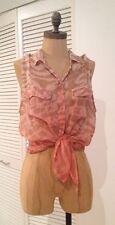 EUC Gypsy 05 Coral Pink Brown Zebra Leopard Print Sheer Silk Sleeveless Top Sz M
