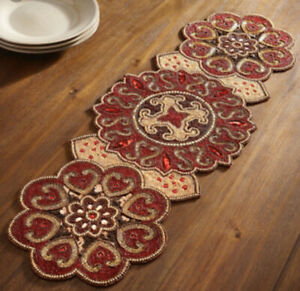 "Pier 1 Crimson Medallion Beaded Table Runner Red Centerpiece 36""X13"