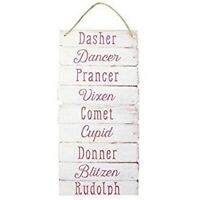 Reindeer Names Rudolph Plank Style Wooden Chic N Shabby Christmas Wall Plaque