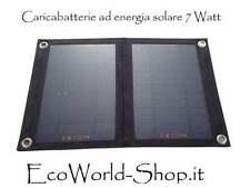 Caricabatteria con pannello fotovoltaico 7 Watt energia solare porta oggetti