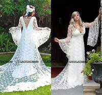 Vintage Victorian Medieval Puffy Long Sleeves Wedding Dresses Lace Bridal Gowns