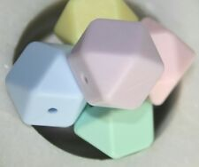 Loose Silicone Beads 17mm loose BPA Free colour mix x10 Hexagon  pastels