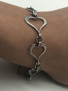 """Silpada Sterling Silver Spread The Love Heart Link B1701 Bracelet 7.5+"""""""