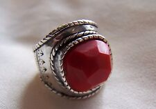 "Silpada, Silver Sterling Pure WOW Red Coral, ""The Samba""  Size  8 Pristine!"