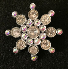 Vintage Silver Tone Rhinestone Snowflake Snow Flake Brooch Pin Jewelry