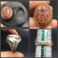 Very Antique Old Roman Emire Stutue Ancinet Star Stone Unique Mix Sliver Ring