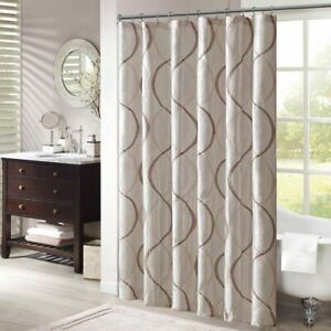 "Luxury Ivory & Brown Geometric Embroidered Fabric Shower Curtain - 72"" x 72"""