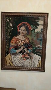 Vintage Beautiful Woman with Flowers Needlepoint Framed Wood Frame Needlework