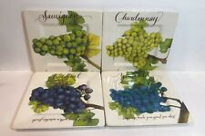 Fountain Arts S/4 Square Salad Plates Signed By Carol Fountain Nix Wine Country