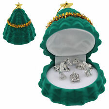 Miniature Nativity Metal Figures in Tree Gift Box Christmas Decoration