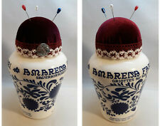 Handmade Embroidery Pin Cushion Pin Holder AMARENA FABBRI Glass Jar Can Caddy
