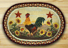 """MORNING ROOSTER 100% Natural Braided Jute Placemat, 13"""" x 19"""", by Earth Rugs"""