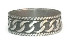 Vintage Sterling Silver Chain Link Thumb Band Mens Ring Size 10.25 Women 8.8g