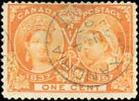 1897 Used Canada 1c F Scott #51 Diamond Jubilee Stamp