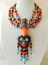 """Chris Crouch's Moans Couture Coral Art Glass Blackamoor Necklace/pin 7"""" Pre-Sale"""