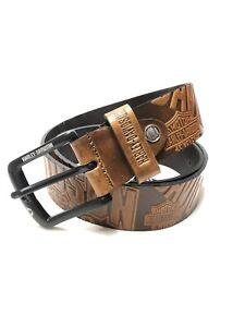 Mens Brown Harley-Davidson Leather Belt Size 42 To 46 Waist Nw