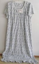 NWT ARIA LONG NIGHTGOWN-SIZE 2X-SHORT SLEEVE-IVORY/BLUE PRINT-$60-BEAUTIFUL!