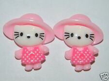 LOT 2  DEMI PERLE  HELLO KITTY  CHARMS EMBELLISSEMENT SCRAPBOOKING   DECORATION