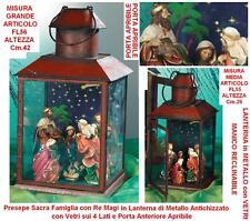 CRÈCHE avec la Sainte famille et sages en verre de FL55 métal lanterne H. 26
