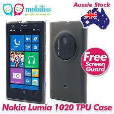 Black Jelly TPU Gel iSkin Case Cover for Nokia Lumia 1020 Screen Protector