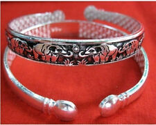 """Long Thick Tibetan Silver Plated Carved Family of Elephant Amulet Bracelet -7"""""""