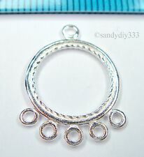 2x BRIGHT STERLING SILVER ROUND CHANDELIER EARRINGS CONNECTOR #1429
