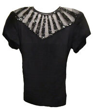 VTG 40S-50S SEXY FITTED PEPLUM BLOUSE Black Sequins Evening Top Starburst Design