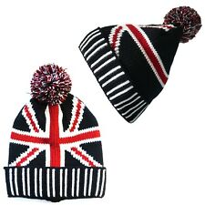 2260bfecc54 Unisex Men`s Ladies Thermal UK Flag Kitted Warm Winter Chunky Beanie Pom  Pom Hat
