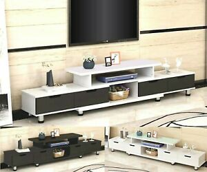 160 - 230cm Large TV Stand Entertainment Unit Cabinet Glass Top Cover Adjustable