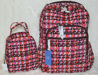 VERA BRADLEY Iconic Campus Tech Backpack & Lunch Bunch Bag Set Houndstooth Tweed