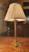 Antique English Brass Corinthian/Ionic Column Table Lamp, Edwardian, Rewired