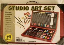 Studio Art & Craft Supplies 79 Piece Drawing Painting Set By Nicole Wood Case