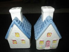 """Ceramic salt and pepper shakers in shape of a house 4"""" x 2 1/2"""""""